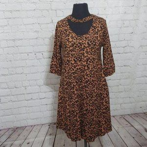 Choker Dress Cheetah Print Vfish 3/4 Sleeve